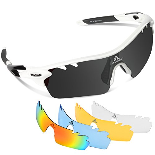 HODGSON Polarized Sports Sunglasses with 5 Interchangeable Lenses for Men Women Cycling Baseball Running Glasses, TR90 Unbreakable -White