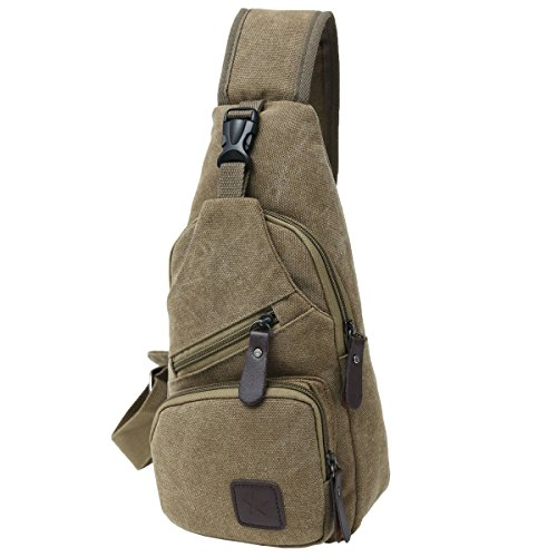 Canvas Chest Pack Crossbody Casual Sling Shoulder Bag(502) (Light coffee) by STIUCCE