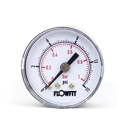 1//8 bspt rear entry 1 BAR 40mm Dry//Pneumatic pressure gauge 0-15 PSI