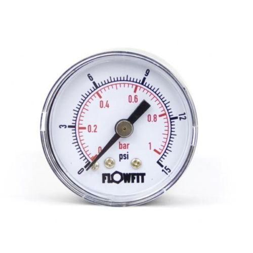 40mm Dry/Pneumatic pressure gauge 0-15 PSI (1 BAR) 1/8' bspt rear entry Flowfit