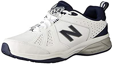 New Balance Men's 624 Cross Training Shoes, White/Navy, 7 US (X-Wide)