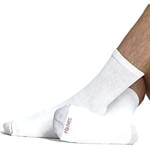 CUSHION CREW - BIG AND TALL - WH W/GY HEEL & TOE Socks 6 Pack,Size: 12-14