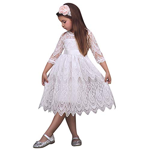 (Tantisy ♣↭♣ Little Girls Lace Princess Dresses Kids Birthday Wedding Tutu Show Costumes Tulle Party Gown Cocktail Dress White)