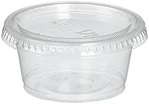 Reditainer RDSC200100 Plastic Disposable Portion Souffle Cup with Lids, 2 Ounce, Package of 100