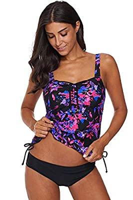 OXIVE Womens Bandeau Printed Tankini with Triangle Briefs Swimsuit Bating Suit