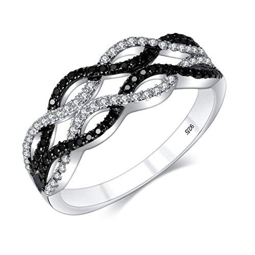 M&D Jewelry Criss Cross Ring Infinity Ring Black&White Braided Twisted Paved Promise Ring Sterling Silver ()