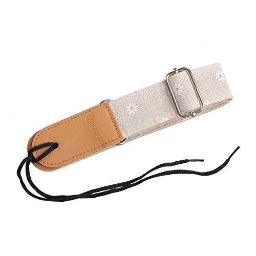 HOT SEAL Linen Style Adjustable Genuine Uke Leather Metal Hook Ukulele Strap Strong Back Straps (Linen Daisy) by HOT SEAL (Image #2)