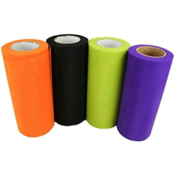 Black, Orange and Purple 6 Inches by 75 Feet 3 Spools Halloween Tulle Rolls Tulle Netting Rolls Tulle Fabric Spool Ribbons