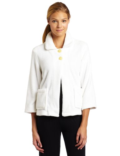 Casual Moments Women's Bed Jacket-Peter Pan Collar, White, Small