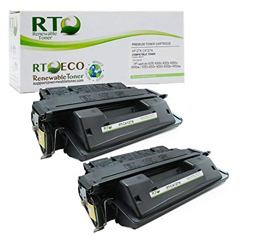 - Renewable Toner Compatible Toner Cartridge High Yield Replacement for HP 27X C4127X LaserJet 4000 4050 (Black, 2-Pack)