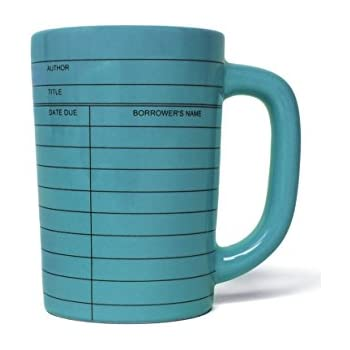 Out of Print Library Card Coffee Mug Blue