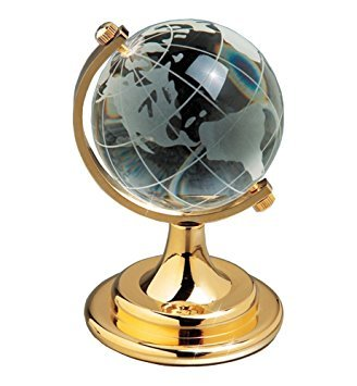 Amlong Crystal Etched Crystal Globe on Brass Colored Base - 4 inch tall