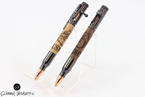 Handmade Schimmel Pen, USMC bulldogs wood pen, bolt action bullet pen,gift for Marine. Show your support of the Marines! Comes in a Gift box!