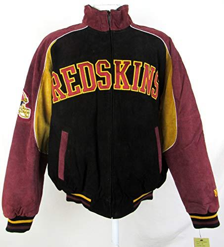 G-III Sports Mens Washington Redskins Full Zip Embroidered Suede Leather Jacket, Size Large
