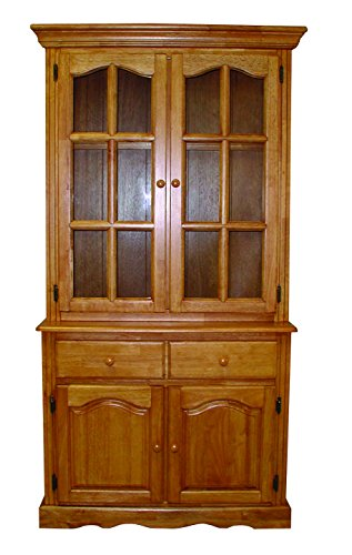 Sunset Trading Keepsake Buffet and Lighted Hutch, Nutmeg/Light Oak by Sunset Trading