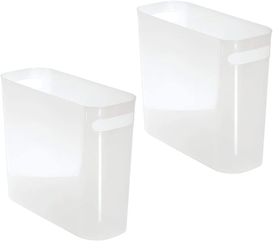 """mDesign Slim Plastic Rectangular Small Trash Can Wastebasket, Garbage Container Bin with Handles for Bathroom, Kitchen, Home Office, Dorm, Kids Room - 10"""" High, Shatter-Resistant, 2 Pack - Frost Clear"""