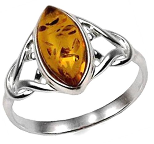 Amber Sterling Silver Celtic Small Thin Ring , Yellow , Size 9