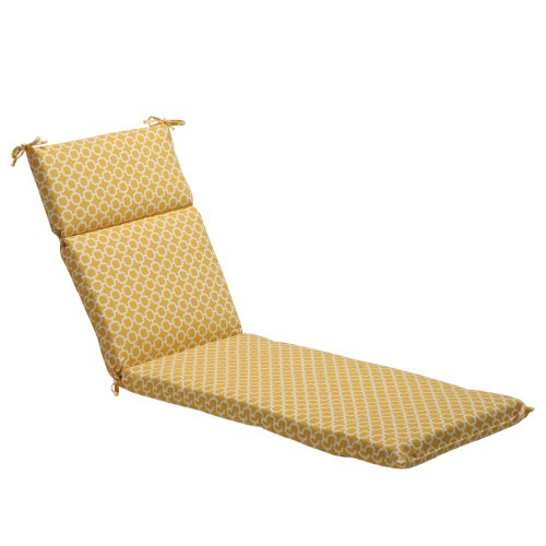 Pillow Perfect Indoor Outdoor Yellow White Geometric Chaise Lounge Cushion