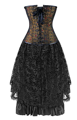 Kimring Women's 2 Pcs Vintage Gothic Victorian Brocade Overbust Corset Skirt Set 5