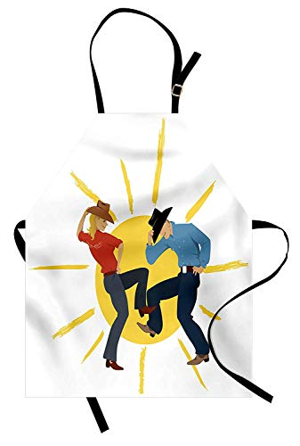 T&H Home Country Apron, Texas Cowboy and Cowgirl Partner Dancing Line Dance Wearing Stetson Sun Background, Unisex Kitchen Bib Apron Adjustable for Kids Adults Cooking Baking Gardening, Multicolor ()