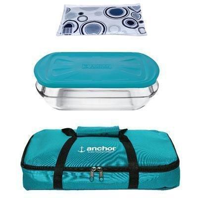 Anchor Hocking 10194 3Qt Essentials Bakentake Tote, Medium, Teal, Blue