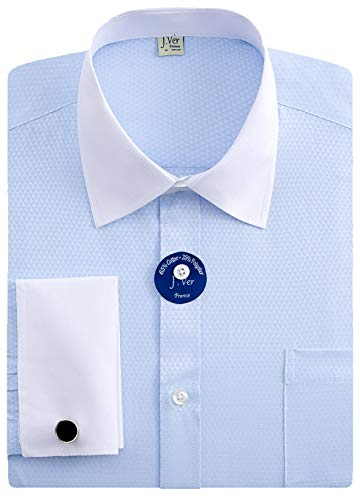 Shirt Classic Mens Stripe (J.VER Men's French Cuff Dress Shirts Regular Fit Long Sleeve Spead Collar Metal Cufflink - Color:Contrast Blue, Size: 18