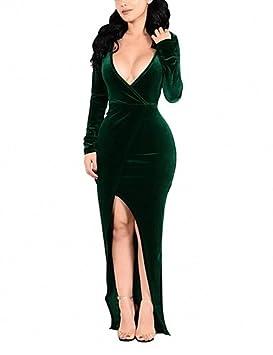 ZLL Mujer Corte Bodycon Vestido Fiesta/Cóctel Tallas Grandes Sexy,Un Color Escote en