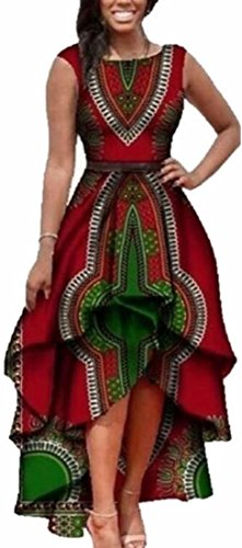 CBTLVSN Womens African Floral Print High Low Sleeveless Party Dresses 2 L