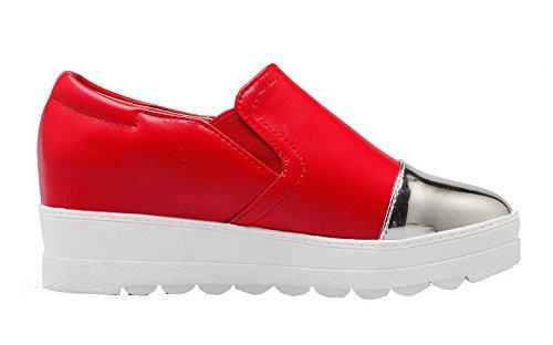 Légeres Chaussures Talon Matière Tire Femme Souple AllhqFashion Correct à Rouge awUFpxq