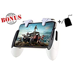 Mobile Kings – Mobile Game Controller for pubg Mobile Controller, White Durable Cellphone Triggers, Fits 5.3in-7in Wide…