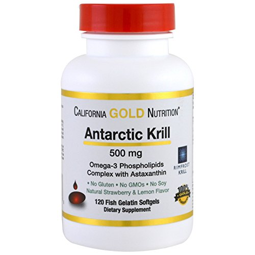 California Gold Nutrition, Antarctic Krill Oil w/Astaxanthin, RIMFROST, Natural Strawberry & Lemon Flavor, 500mg, 120 Fish Gelatin Softgels