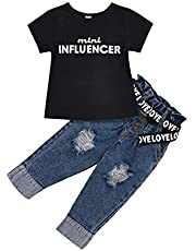 citgeett Toddler Baby Girls Jeans Outfits Off Shoulder Tube Top+Hole Denim Pants Set Kids Summer Clothes