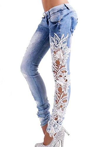 Skinny Hot Patchwork Women Jeans Lace Denim Trousers Pants Lightblue Leggings qaqwBtPd