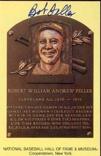 Bob Feller Autograph/Signed Baseball HOF Plaque Bob Feller Signed Baseball