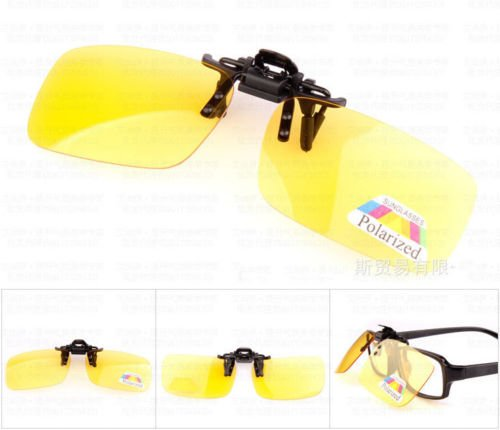 XENO-1X Polarized Clip On Flip Up Sunglasses Mirrored Clip for Myopia Glasses Driving(yellow-night - Online Buy Myopia Glasses