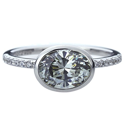 Double Accent Platinum Plated Sterling Silver 2ct Oval Grey CZ Bezel Wedding Engagement Ring (Size 5 to 9), 7