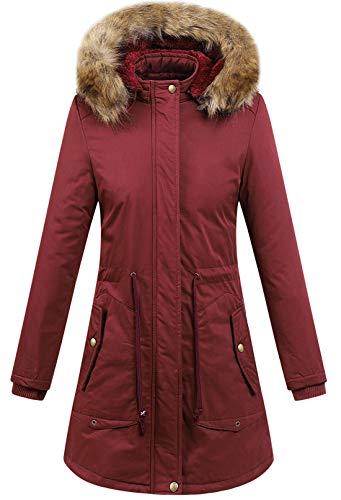 Chouyatou Women's Winter Removable Hooded Full-Zip Long Windbreaker Parka Coats (Medium, Dark ()