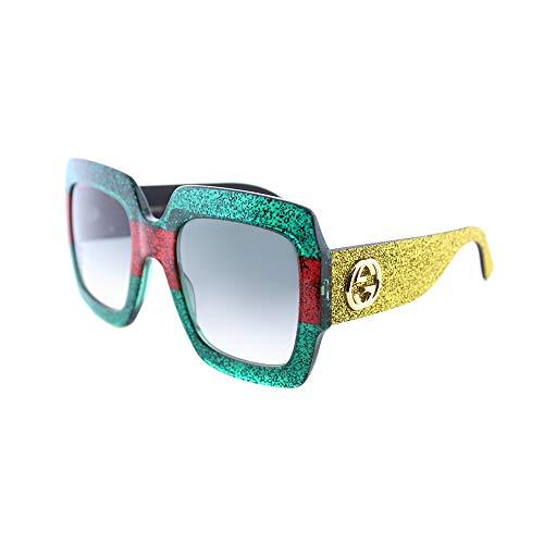 Gucci GG 0102 S- 006 MULTICOLOR/GREEN GOLD Sunglasses