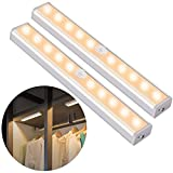 OUSFOT Closet Lights, Motion Sensor Indoor LED Under Cabinet Light USB Rechargeable with Removable Magnetic Strip for Wardrobe, Night, Garage, Stairs, Wall(Warm Light) (2pack)