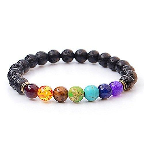 Bogo Arty 7 Chakra Natural Gemstone Beads Bracelet Colorful Crystal Lava Rock Stretch Wrist Bracelets for Men Women's Yoga Meditation Prayer Healing Protection