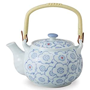 Porcelain bowl with clean function (with the U-shaped tea strainer) (iv) teapot indigo flowers and clean water-repellent (620cc) (japan import)