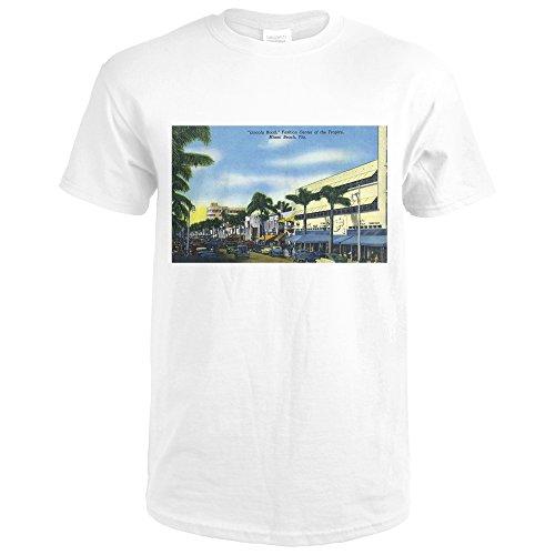 Miami Beach, Florida - View Down Lincoln Road (Premium White T-Shirt - Lincoln Miami Road Beach
