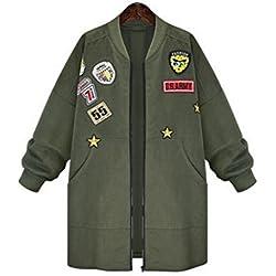 Jacket Coat Spring Autumn Jacket Women Tops Long Sleeve Slim Army Green Outwear Women Basic Punk Coat Jacket Color:Armygreen Size:XL