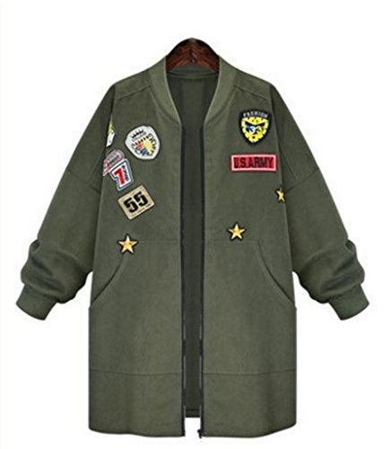 Jacket Coat Spring Autumn Jacket Women Tops Long Sleeve Slim Army Green (Alpha Ma 1 Leather Flight)