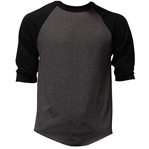 Casual Raglan Tee 3/4 Sleeve TShirt Baseball Jersey L Heather Charcoal Black