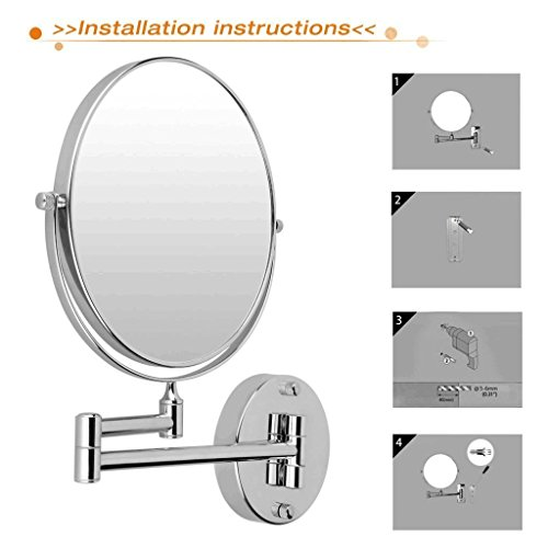 GURUN 8-Inch Two Sided Makeup Mirrors Dual Arm Wall Mount Mirror with 10x Magnification,Chrome Finish M1309(8in,10x) by GURUN (Image #6)