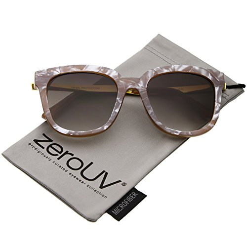 zeroUV - Modern Marble Print Horn Rimmed Round Gradient Lens Square Sunglasses 53mm