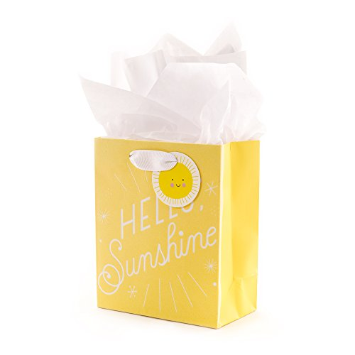 Hallmark Small Yellow Gift Bag with Tissue Paper for Baby Showers, Birthdays or Any Occasion (Hello ()