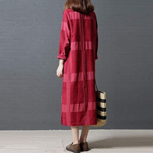 Dames Femmes Plus Lattice Sundress Longues Robe Lin pour Long La Les Coton Sleeve Femmes Et Robes Rouge Lady Taille xxX7F