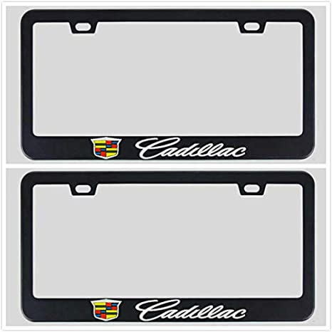 Zoonon Stainless Steel Metal Heavy Duty License Plate Tag Frame Cover Holder for Cadillac Black 1 Wreath